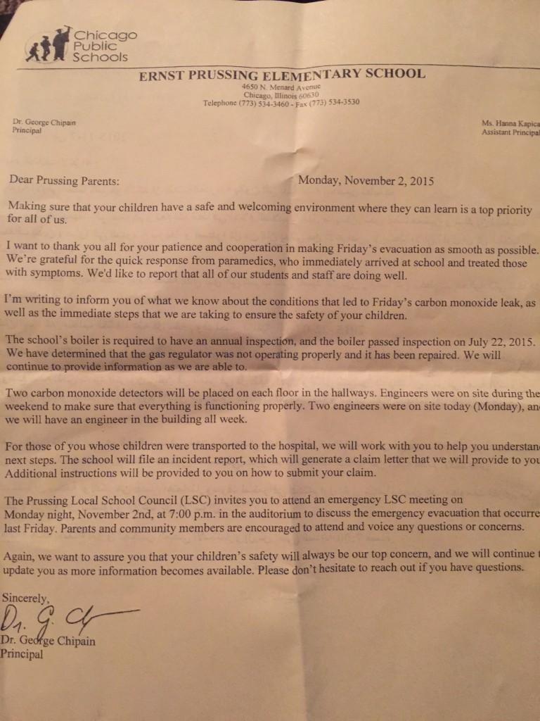 Prussing Parents Letter